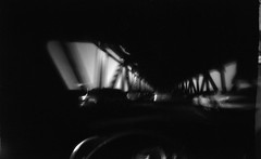 Lower deck of the bay bridge on WPPD (efo) Tags: bw driving traffic pinhole baybridge chocolatebox wppd rolleiuniversal200