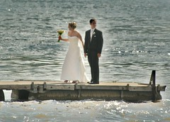 Just Married (chumlee10) Tags: wedding water river groom bride illinois dock couple downtown waterfront candid sony il rockford rockriver a300 winnebagocounty thegalaxy