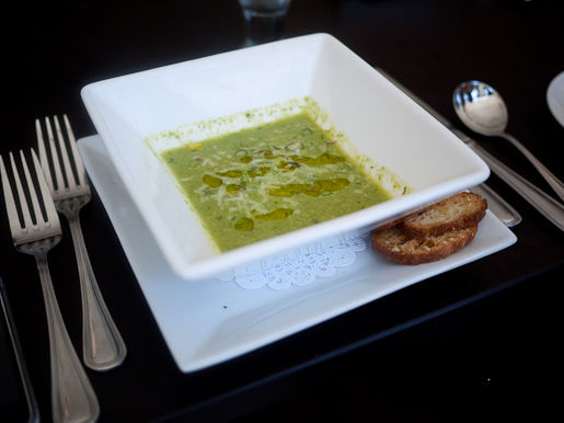 New Jersey Asparagus Soup with Parmigiano Reggiano, Red Chili Flakes, and EVOO