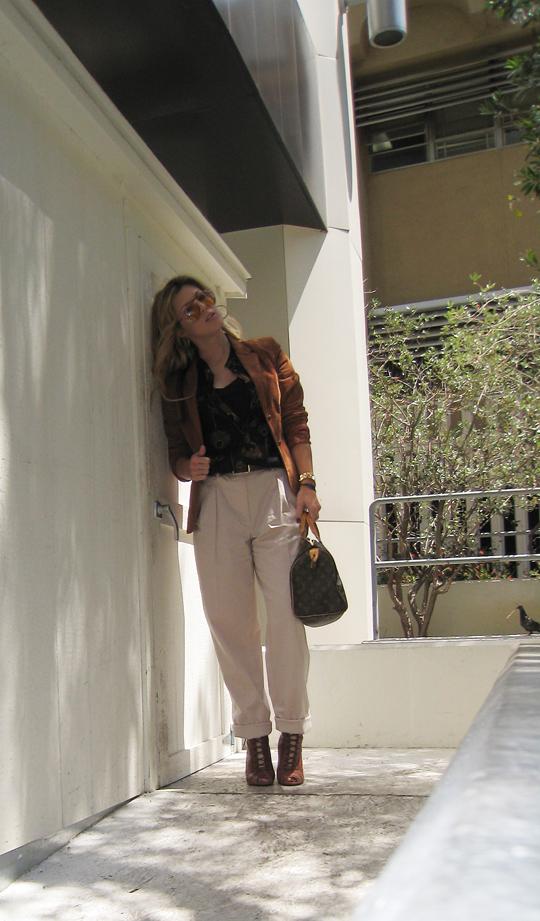 70's+Rust Blazer+Louis Vuitton Bag+Blond waves+khakis -dark