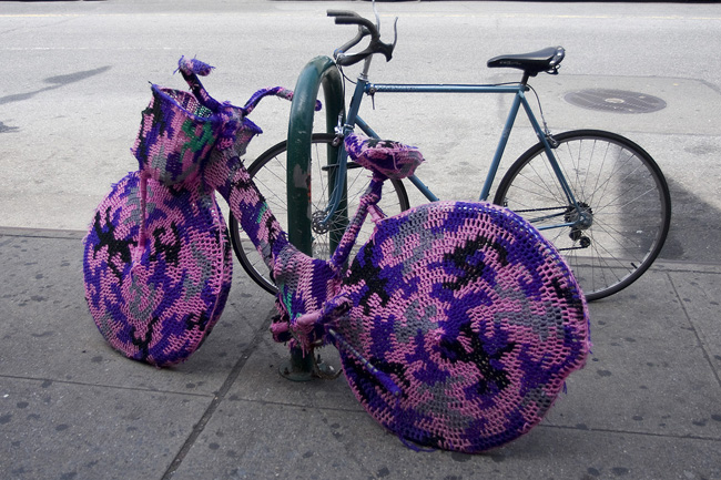 A bike cozy, on the Lower East Side