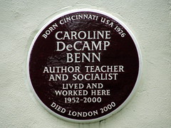 Photo of Caroline DeCamp Benn brown plaque