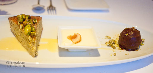 Pistachio olive oil cake… toasted almond panna cotta, chili chocolate sorbet from Rialto