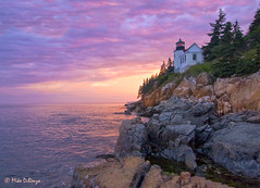 Bass Harbor Sundown 4426 (Bozzzzz) Tags: sunset sky cliff lighthouse nature landscape harbor rocks sundown bass maine bassharbor acadianationalpark sescape