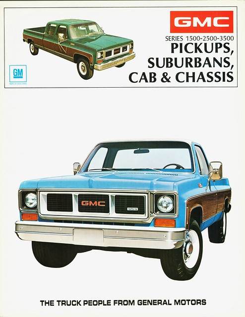 brochure 1973 gmc pickups suburbans cabchassis