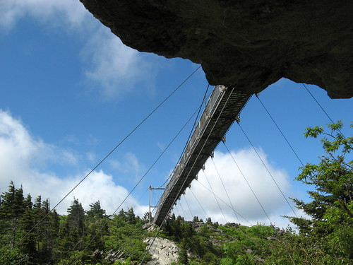 Bottom of Mile High Swinging Bridge from Bridge Trail
