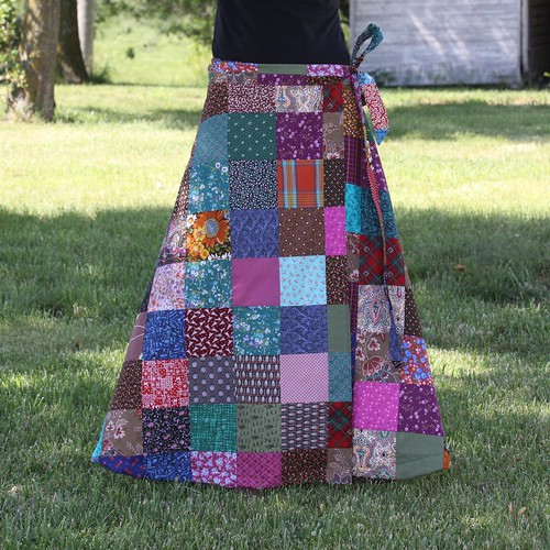 Long Patchwork Wrap Skirt