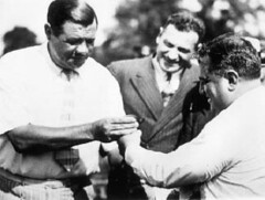 New York Yankees star Babe Ruth and Mayor Fiorello La Guardia at the opening of Alley Pond Park in Queens, July 26, 1935. (La Guardia and Wagner Archives) Tags: queens laguardia baberuth fiorellolaguardia fiorello alleypondpark thelittleflower mayorlaguardia