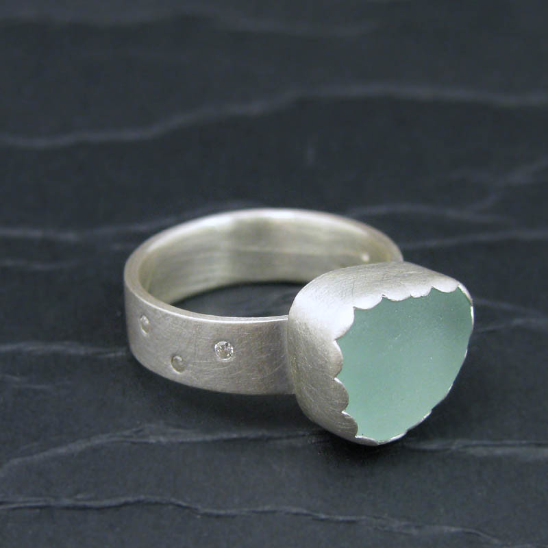 sea foam and diamonds sterling silver ring. side