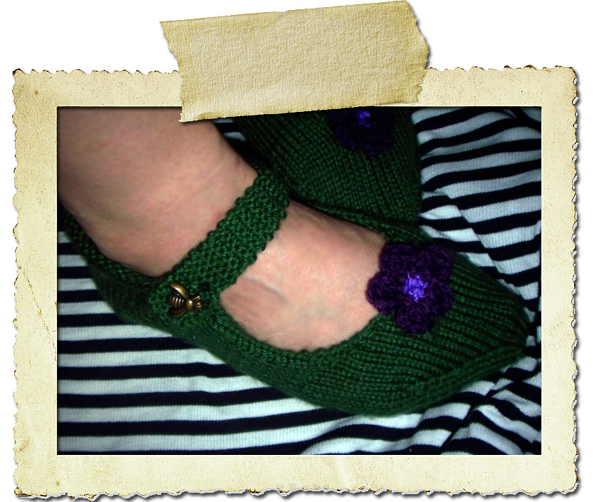 Green Mary Jane Slippers