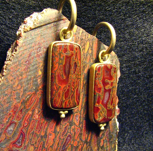 earrings on gembone slab