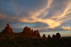Sunset, Arches National Park (wanderstruck) Tags: sunset clouds utah nationalpark rocks arches moab archesnationalpark rockformation