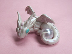 Pearl White Dragon (DragonsAndBeasties) Tags: pink white june dragon cream gift series pearl etsy custom milky gem shimmer birthstone beccagolins dragonsandbeasties