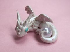 Pearl White Dragon (DragonsAndBeasties) Tags: pink white june dragon cream gift series pearl etsy custom milky gem shimmer birthstone beccagolins dragonsandbeasties