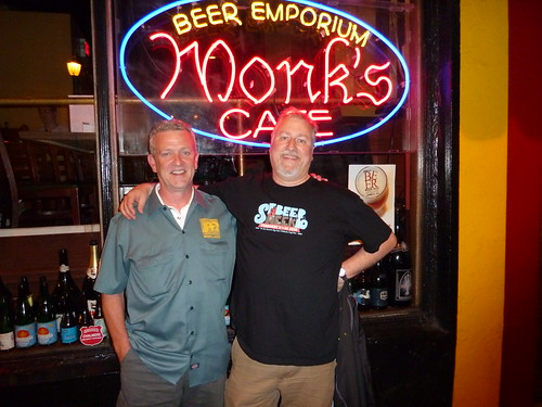 Brendan Moylan and me in front of Monk's Cafe