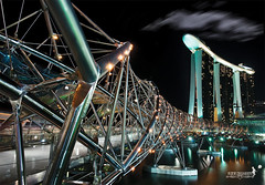 Futuristic Double Helix (achew *Bokehmon*) Tags: city bridge architecture marina landscape singapore long exposure sony casino helix alpha sands futuristic a850