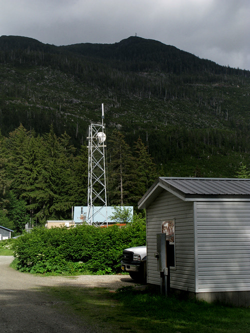 internet tower and part of OVK building, Kasaan, Alaska