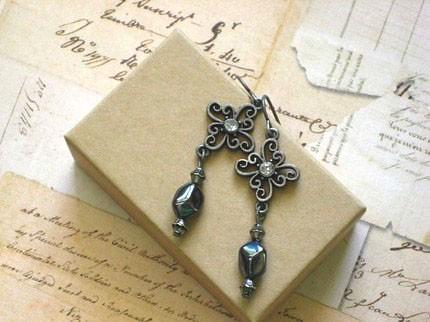 Antique Brass Filigree Crosses Earring
