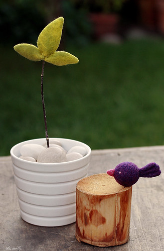 felted seedling and purple birdie