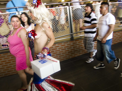 Patriotic Mermaids at the Coney Island subway station