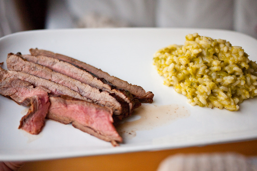 Steak with garlic scape risotto