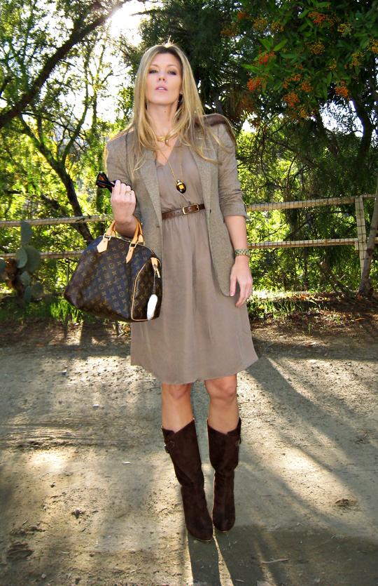 paul and joe dress+louis vuitton speedy+brown suede boots+gold accessories+70's modern+vintage perfume bottle necklace