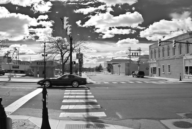 Valparaiso High Street - Lincolnway - shot using efl 14mm and using trendy bw post processing