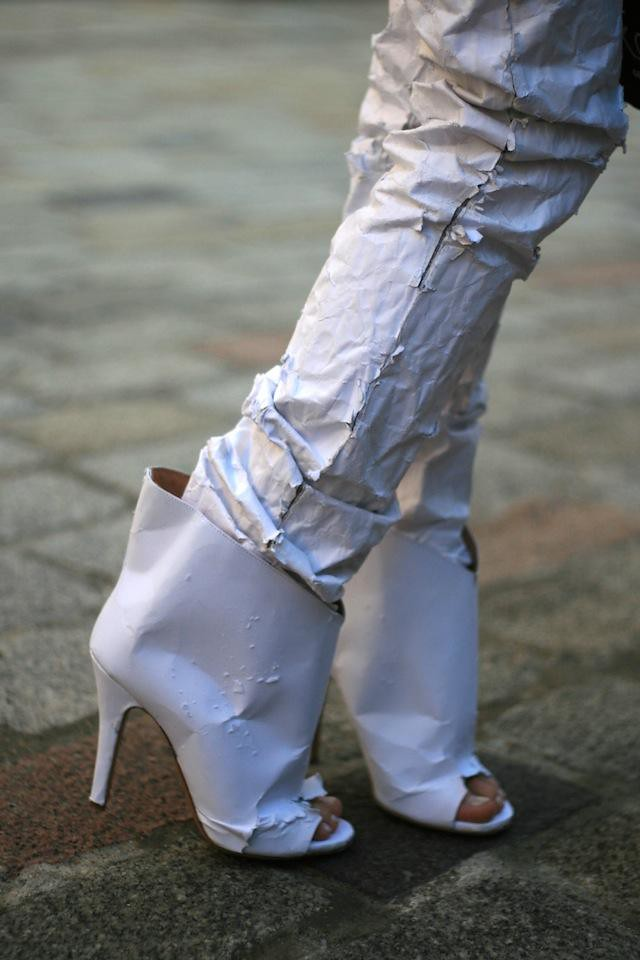 Paper pants and shoes Martin Margiela