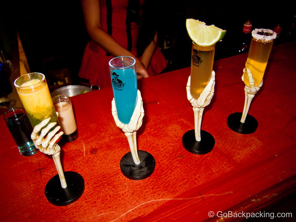 Ghoulish shots on display at Mango's bar. My table stuck with the classics, rum and tequila.
