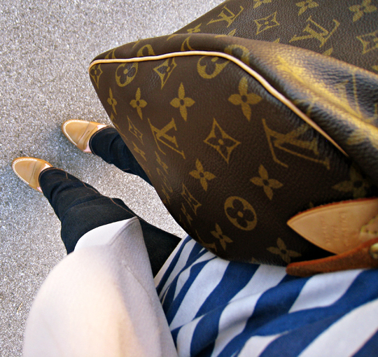 louis vuitton speedy bag+striped tank+j brand jeans+loafers