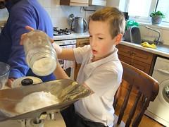 weiging the sugar (Sarah Ruck) Tags: boy cake baking scales weighing