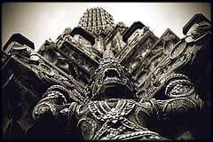 Wat Arun -Krungthep (Julien Cha.) Tags: watarun bangkok templeofdawn krungthep wat temple chaophraya thailand blackandwhite