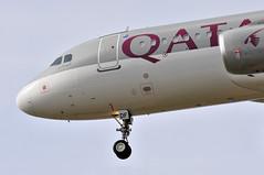 QR3255 DOH-LHR: A7-ADF first visit to London Heathrow. (A380spotter) Tags: approach landing arrival finals shortfinals threshold undercarriage landinggear nosegear airbus a320 200 a7adf اَلْوُكَيْر alwukeir qatar القطرية qatarairways qtr qr qr3255 dohlhr firstvisittolhr firstvisittoheathrow 1st runway27l 27l london heathrow egll lhr