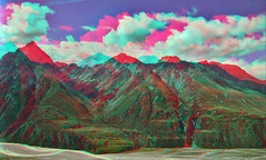 Valleys.  (stereo anaglyph) (kiwizone) Tags: newzealand mountains clouds river stereoscopic 3d delta aerial glacier erosion stereo valleys redcyan tonemapped pseudohdr hyperstereo stereotraining