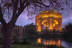 Palace Fine Arts 2 (dmuphotography) Tags: sanfrancisco reflection tree water beautiful architecture clouds gold lights purple palacefinearts romanticview