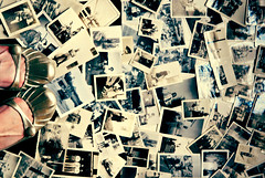 Everyone has a photographic memory, but not everyone has film. (Kelly West Mars) Tags: portrait selfportrait history feet collage vintage gold shoes antique metallic memories naturallight retro flats photographs prints mememe oldfamilyphotos hbm nikond80 benchmonday florabellaactions
