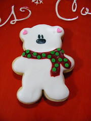 Polar Bear Cookie (christylacy) Tags: holiday cookies scarf polarbear sprinkles icing decorated christylacy itsnummynum edibleinkpens