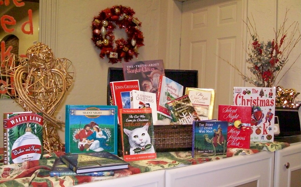 Christmas books and decorations