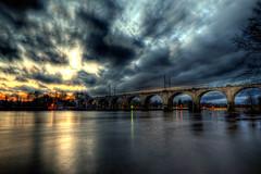 R3 Train from Philadelphia to West Trenton (James Loesch) Tags: bridge sunset storm reflection philadelphia night pennsylvania bec hdr delawareriver photomatix westtrenton anawesomeshot obramaestra