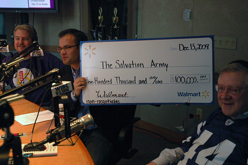 Many generous donors gave to the WIBC Radiothon this weekend, like Walmarts Jason Wetzle who presented a $100,000 check.
