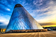 Steel Volcano (Surrealize) Tags: sunset reflection building art glass lines campus studio washington artwork nikon triangle colorful downtown waterfront angle cone steel blowing landmark diamond pacificnorthwest tacoma mtrainier dalechihuly hdr museumofglass handblown bridgeofglass d700 universityofwashingtontacoma surrealize