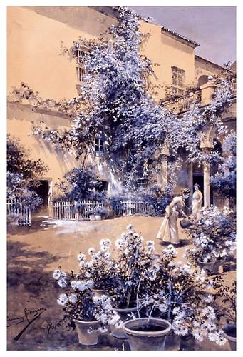 I.E.A. 15 OCTUBRE 1901-2.º N.º XXXVIII. Pág. 216. UN PATIO SEVILLANO  DIBUJO DE GARCÍA Y RODRÍGUEZ