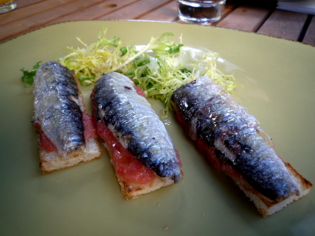 Sardines on toast at Movida Terraza
