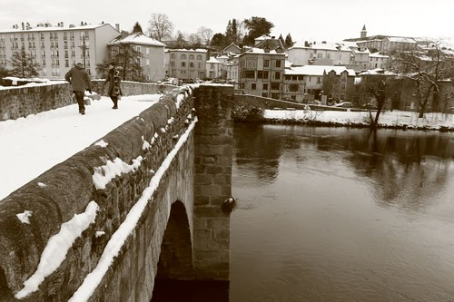 Bridge from the 13th century across River Vienne...