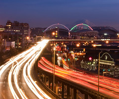 Holiday Rush (Deej6) Tags: seattle field skyline way lights cityscape waterfront traffic trails viaduct rainier safeco seahawks alaskan staduim 18200vr d80