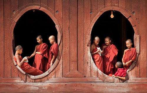 0188 Monks at the windows--Myanmar by ngchongkin