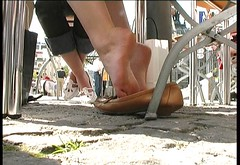 Candid shoeplay feet dangling flats during meeting - 3 part 3