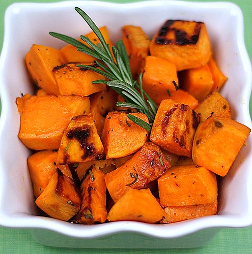 Roasted Sweet Potatoes with Agave Nectar and Fresh Rosemary | Two Peas ...