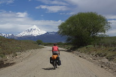 On the way to Volcan Lanin (3,759m) (Pikes On Bikes) Tags: road patagonia argentina bike ruta america cycling volcano carretera south route estrada vía neuquen cycletouring americadelsur volcanlanin ripio pikesonbikes