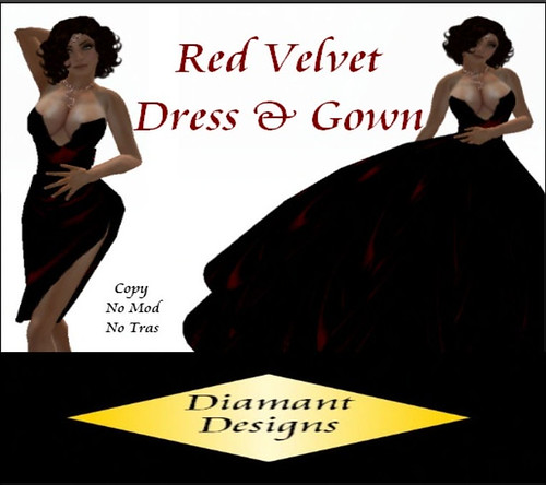 35L Diamant Designs Red Velvet Dress and Gown